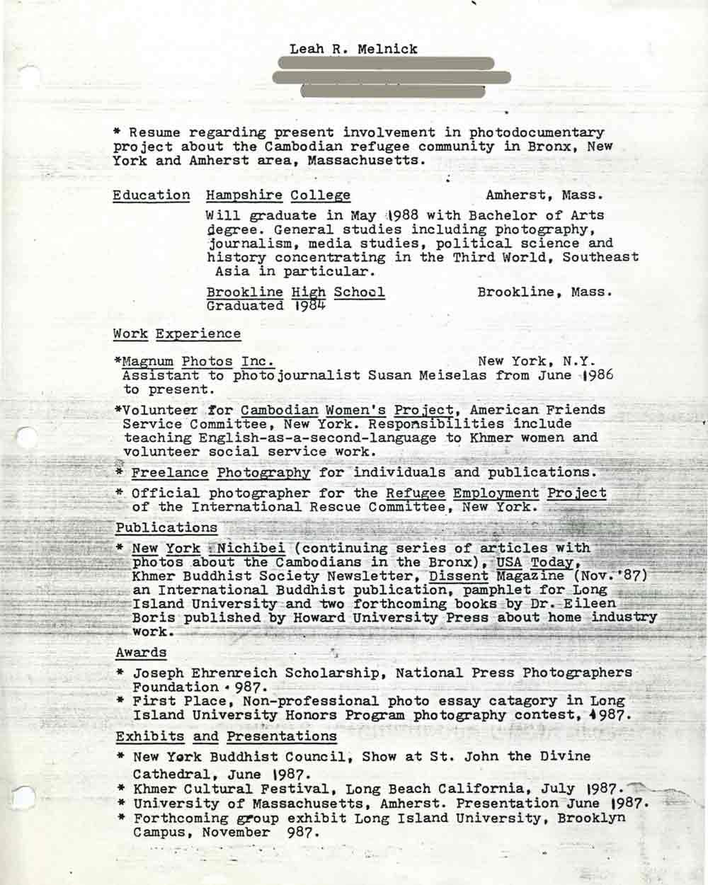 Leah Melnick's Resume, pg 1